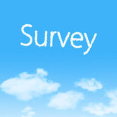 Survey cloud icon with design on blue sky background — Stock Photo