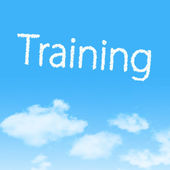 Training cloud icon with design on blue sky background — Stock Photo