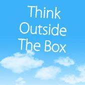 Think Outside The Box cloud icon with design on blue sky background — Stock Photo