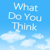 What Do You Think cloud icon with design on blue sky background — 图库照片