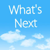 What's Next cloud icon with design on blue sky background — Stock Photo