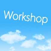 Workshop cloud icon with design on blue sky background — Foto Stock