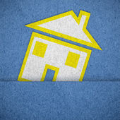 Home icon on blue  paper texture background — Stok fotoğraf