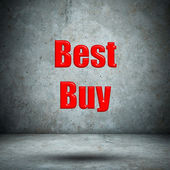 Best buy on concrete wall — Stock Photo