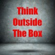 Think Outside The Box concrete wall — Stock Photo