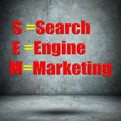 Search Engine Marketing concrete wall — Stockfoto