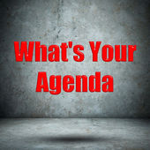 What's Your Agenda concrete wall — Foto de Stock