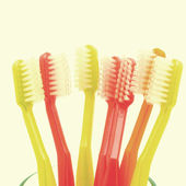 Toothbrushes old vintage retro style — Stock Photo