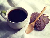 Tazza di caffè e biscotti vecchio stile vintage retrò — Foto Stock
