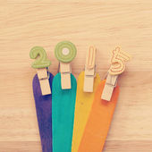 2015 on wood old retro vintage style — Stock Photo