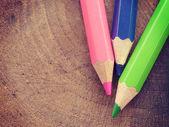 Color pencils old retro vintage style — Stock Photo