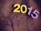 2015 on wood old retro vintage style — Stock Photo