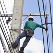 Repairing electrical transmission lines — Stock Photo