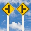 Left and right junction  road signpost — Stock Photo