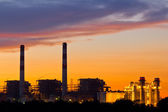 Gas turbine electrical power plant at dusk — Stock Photo