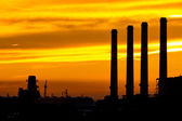 Silhouette of gas turbine electrical power plant — Stock Photo