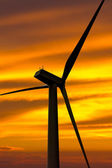 Rear side of wind turbine at sunset — Stock Photo