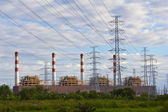 Electrical power plant and pylons — Stock Photo