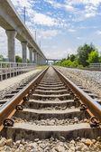 железнодорожный и электрические небо поезд железной дороги — Стоковое фото