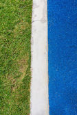 Blue asphalt road and green grass — Stock Photo