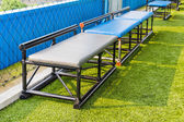 Seats for substitutes in futsal pitch — Stock Photo