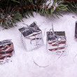 Silver christmas gift boxes — Stock Photo