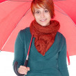 Young woman with umbrella and scarf — Stock Photo