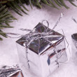 Silver christmas gift boxes — Stock Photo #13892515