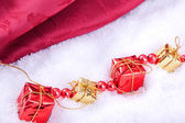Red and golden gift boxes — Stock Photo