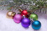 Colorful christmas ball ornaments — Stock Photo