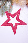 Christmas decoration with red star golden — Stock Photo