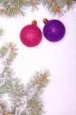 Ball ornaments with pine tree on snow — Стоковое фото