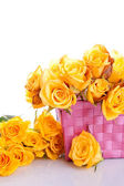 Yellow roses in a gift baket — Stock Photo