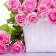 Stock Photo: Roses in gift basket