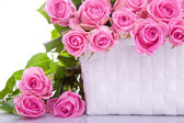 Roses in a gift basket — Stock Photo