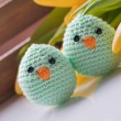 Stock Photo: Spring decoration with chick and tulip
