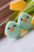 Spring decoration with chick and tulip — Stock Photo