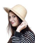 Yoiung girl in hat — Stock Photo