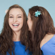Two young female friends whispering gossip — Stock Photo #17685449