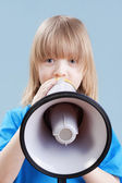Boy with megaphone — Stock Photo