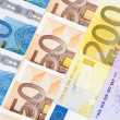 Stock Photo: CLOSEUP OF EURO - EUROPEAN UNION BANKNOTES