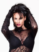 Woman with Black Hair in Sexy See-Through Dress — Stock Photo
