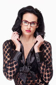 Woman with Black Hair and Glasses — Stock Photo
