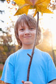 Portrait of a Boy Holding a Brown Leaf — Stock fotografie