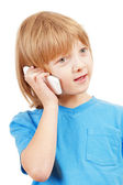 Portrait of a Boy Talking on Mobile Phone — Foto Stock
