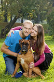Happy Young Couple with Dog — 图库照片
