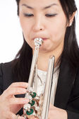 Portrait of a Female Trumpet Player — Stock Photo