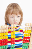 Child Counting on Colorful Wooden Abacus — Stock Photo