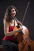 Young Woman with Violoncello — Stock Photo