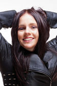Portrait of a Young Woman in Leather Jacket  — Stock Photo